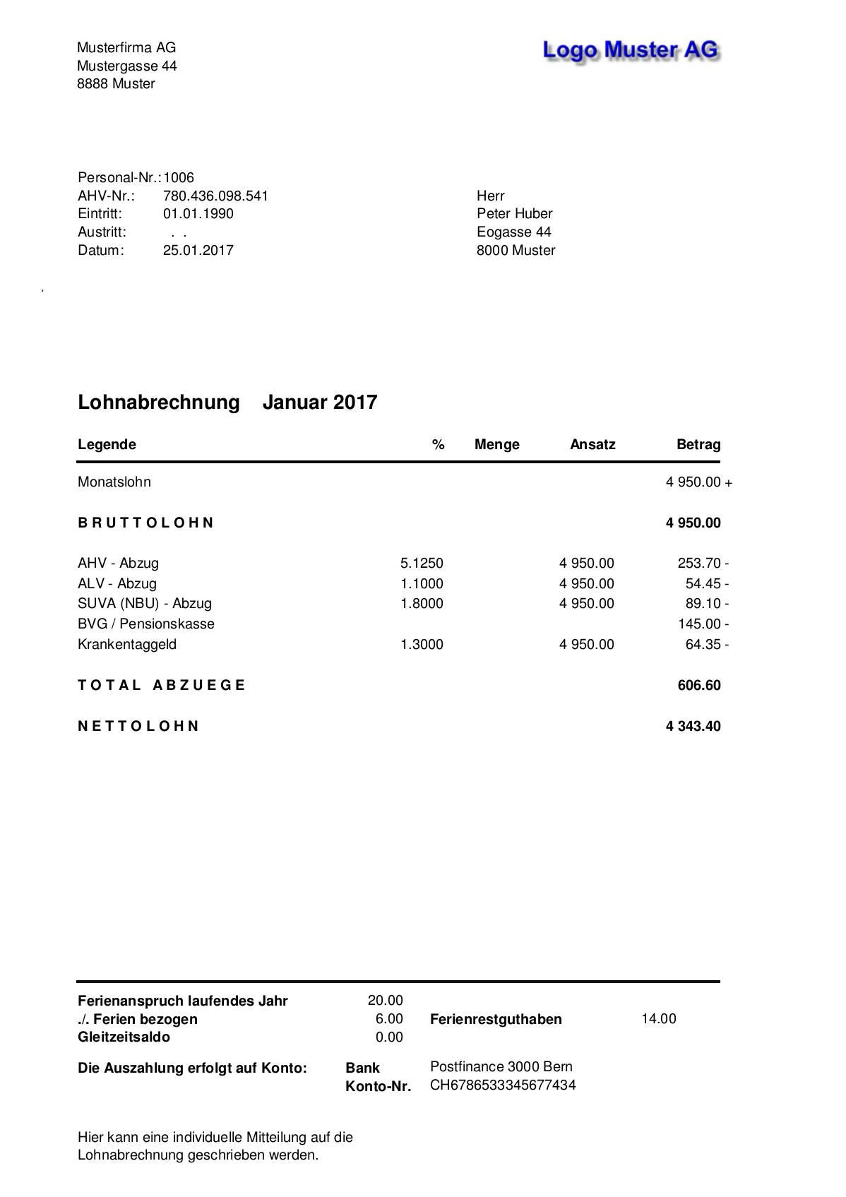 Archiv Musterauswertungen Sbs Lohn Plus Entgeltabrechnungslosung